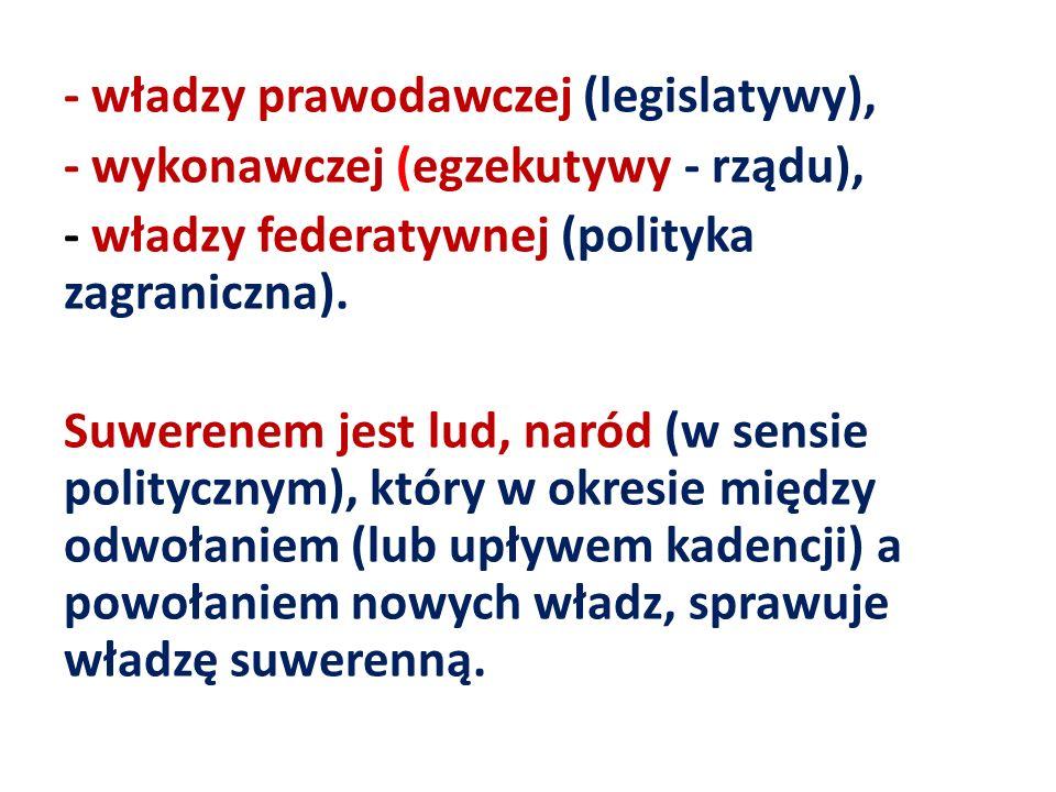 - władzy prawodawczej (legislatywy), - wykonawczej (egzekutywy - rządu), - władzy federatywnej (polityka zagraniczna).