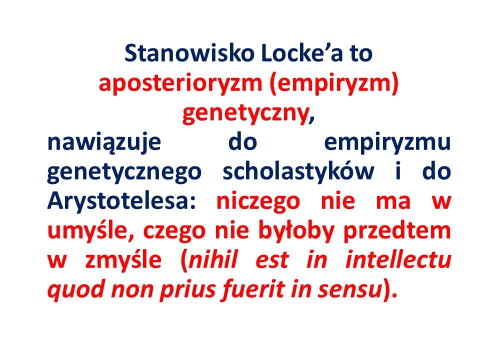 Stanowisko Locke'a to aposterioryzm (empiryzm) genetyczny, nawiązuje do empiryzmu genetycznego scholastyków i do Arystotelesa: niczego nie ma w umyśle, czego nie byłoby przedtem w zmyśle (nihil est in intellectu quod non prius fuerit in sensu).