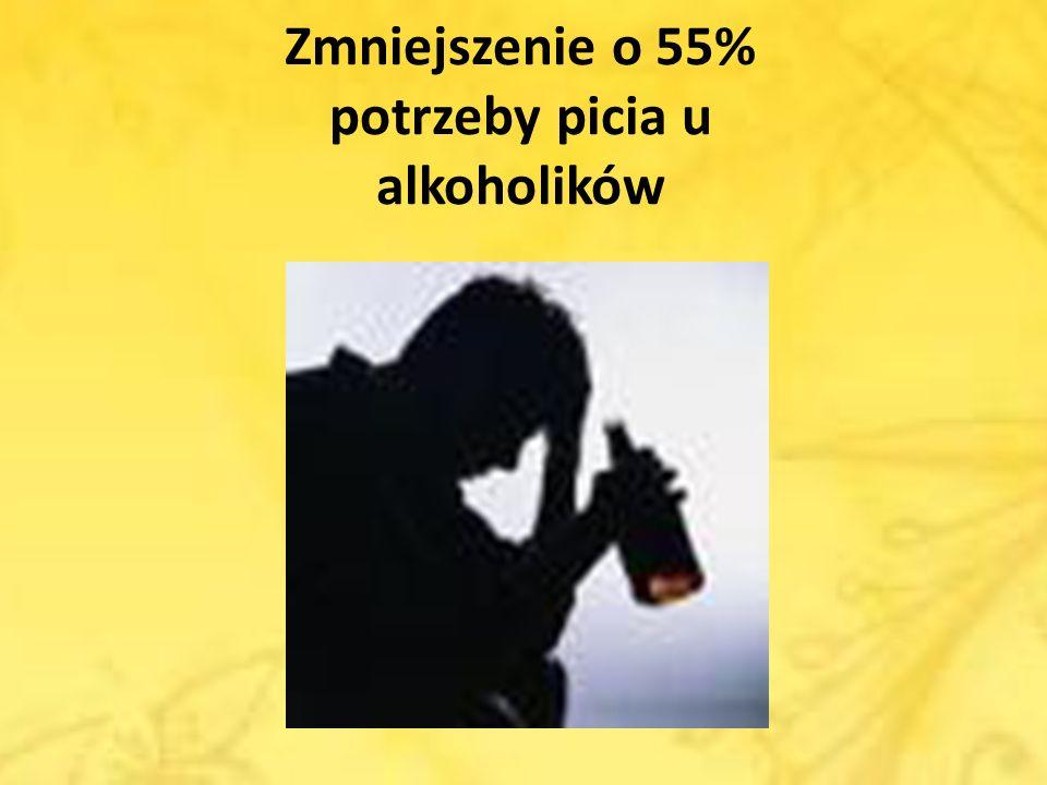 Zmniejszenie o 55% potrzeby picia u alkoholików