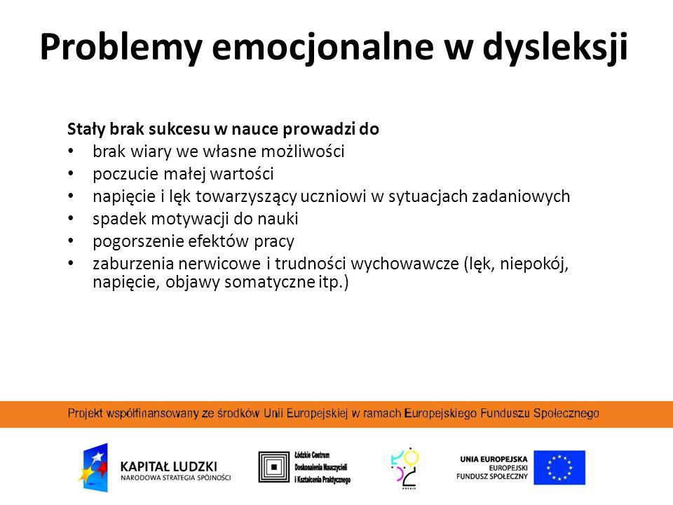 Problemy emocjonalne w dysleksji
