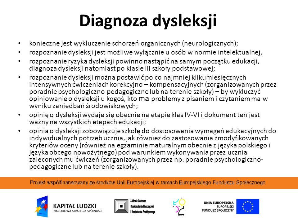 Diagnoza dysleksji konieczne jest wykluczenie schorzeń organicznych (neurologicznych);