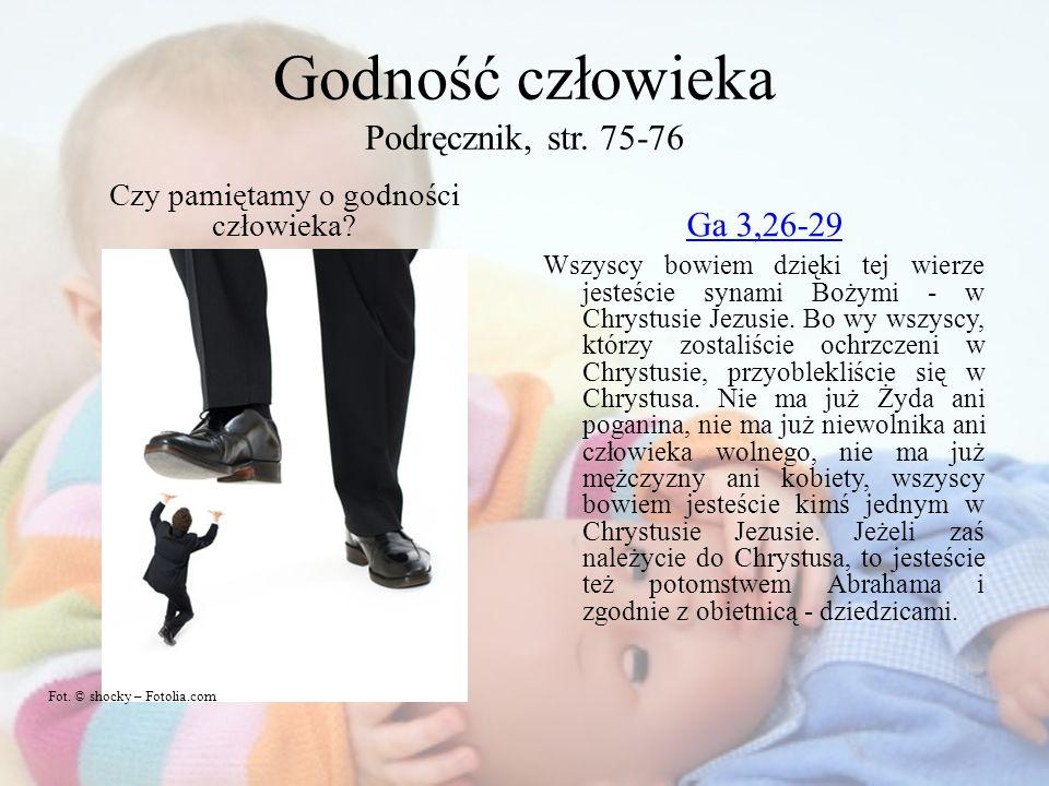 Godność człowieka Podręcznik, str. 75-76