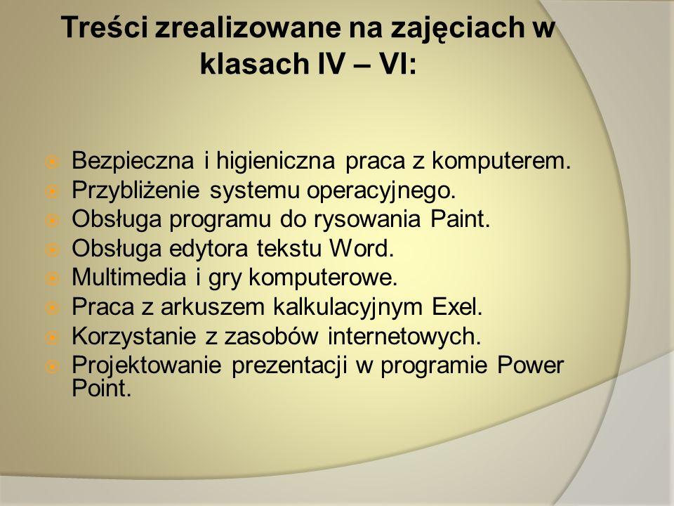 Treści zrealizowane na zajęciach w klasach IV – VI: