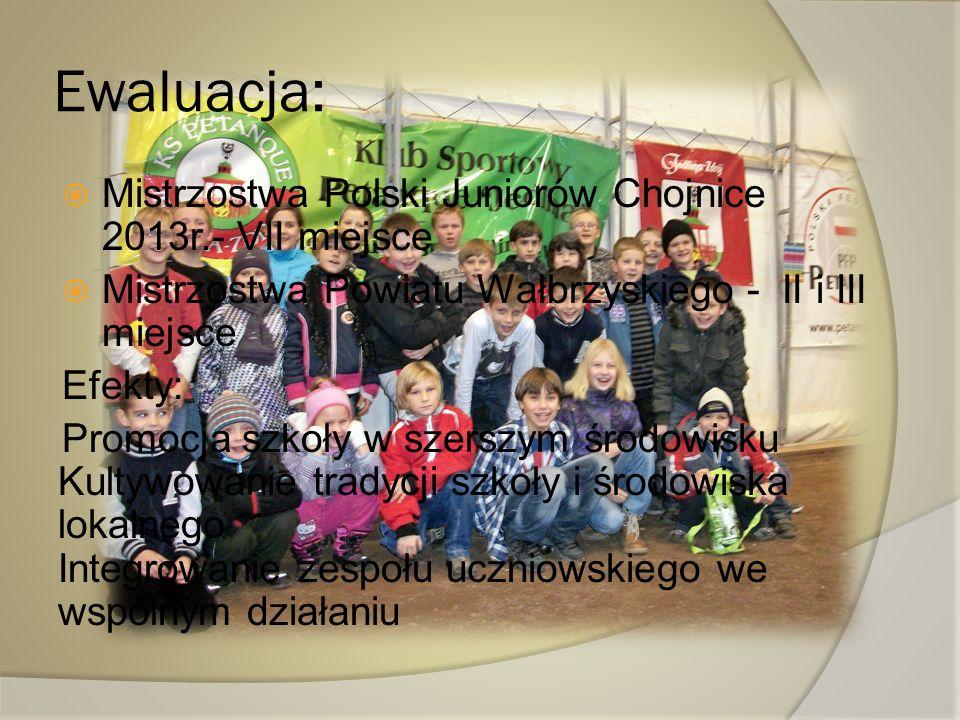 Ewaluacja: Mistrzostwa Polski Juniorów Chojnice 2013r.- VII miejsce