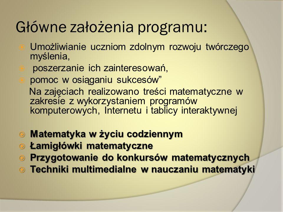 Główne założenia programu: