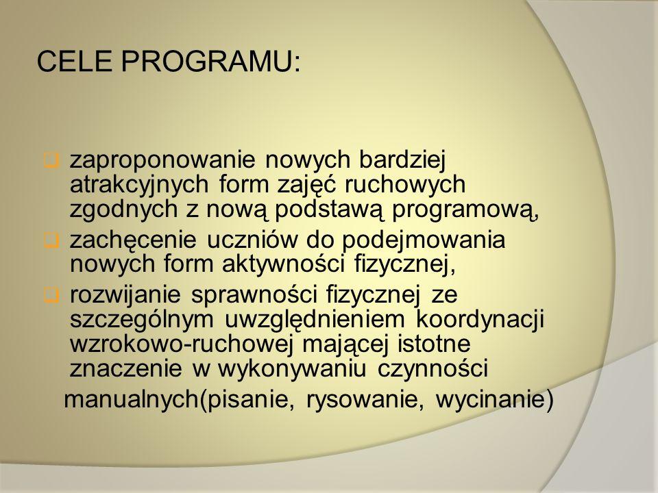 CELE PROGRAMU: zaproponowanie nowych bardziej atrakcyjnych form zajęć ruchowych zgodnych z nową podstawą programową,