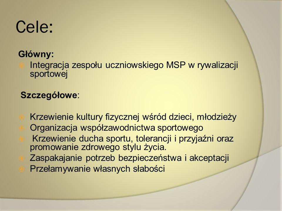Cele: Główny: Integracja zespołu uczniowskiego MSP w rywalizacji sportowej. Szczegółowe: Krzewienie kultury fizycznej wśród dzieci, młodzieży.
