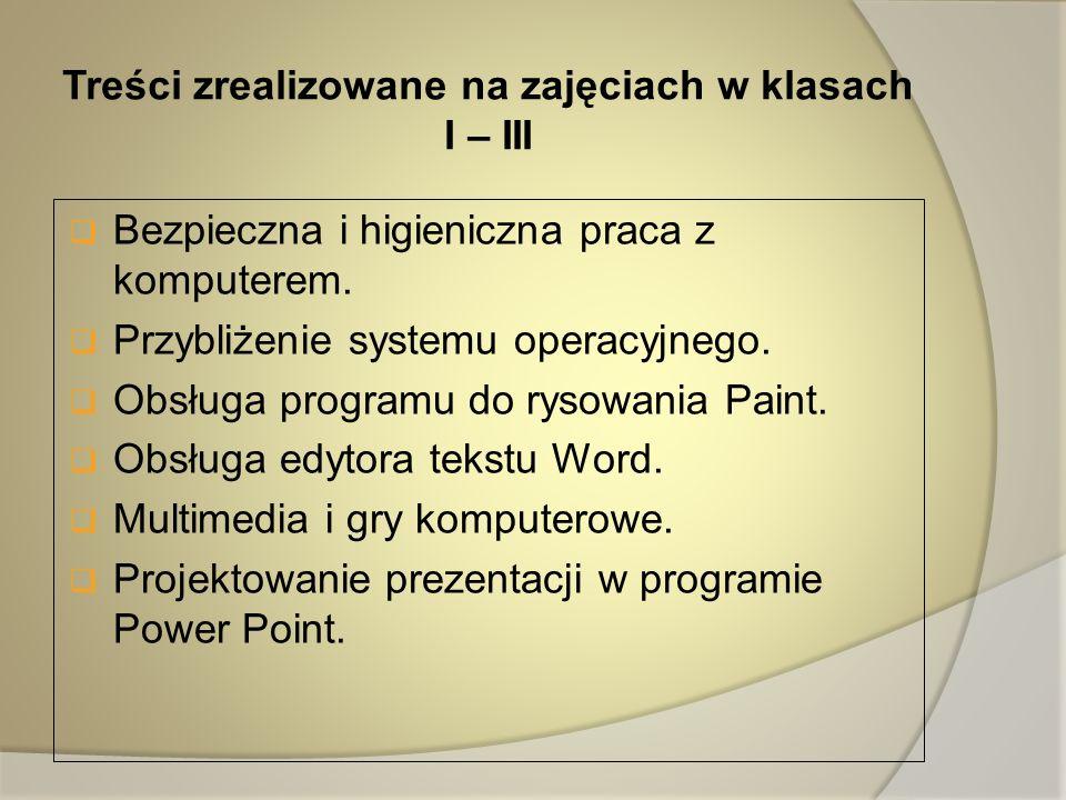 Treści zrealizowane na zajęciach w klasach I – III
