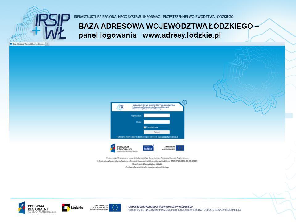 BAZA ADRESOWA WOJEWÓDZTWA ŁÓDZKIEGO – panel logowania www. adresy