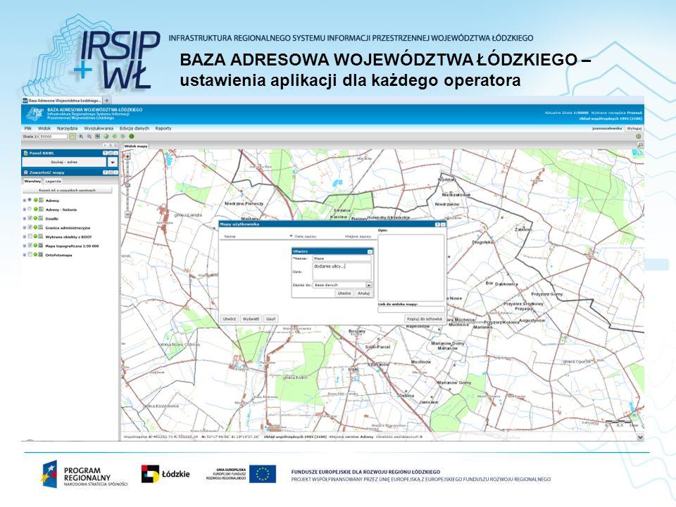 BAZA ADRESOWA WOJEWÓDZTWA ŁÓDZKIEGO –ustawienia aplikacji dla każdego operatora