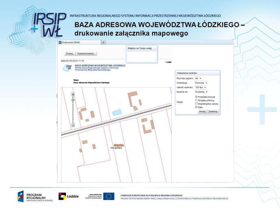 BAZA ADRESOWA WOJEWÓDZTWA ŁÓDZKIEGO – drukowanie załącznika mapowego