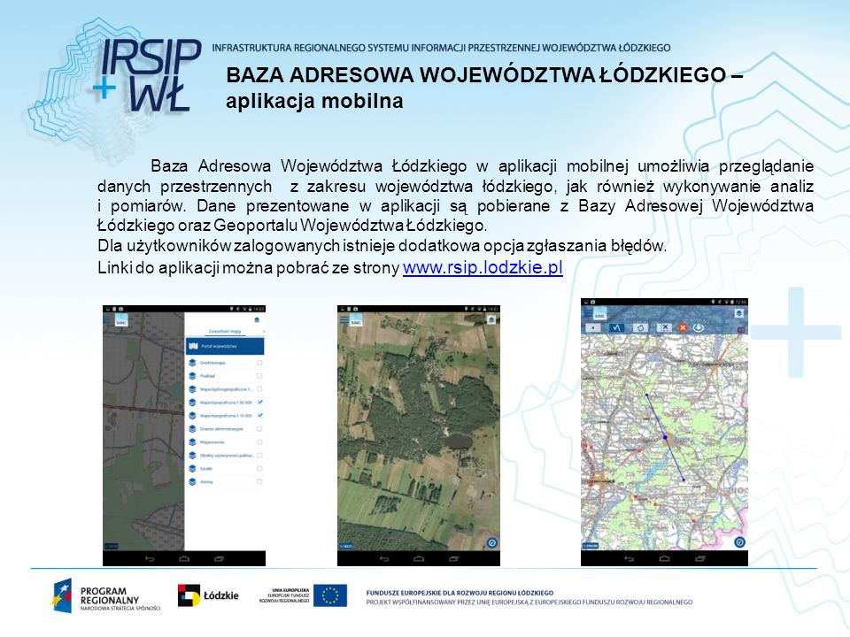 BAZA ADRESOWA WOJEWÓDZTWA ŁÓDZKIEGO – aplikacja mobilna
