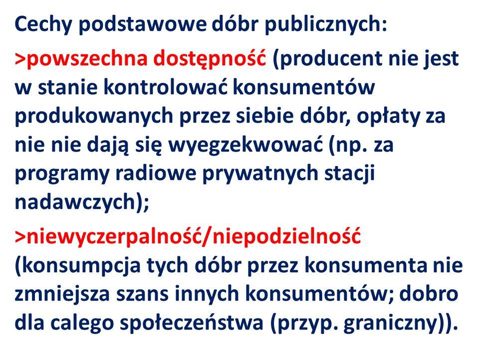Cechy podstawowe dóbr publicznych: >powszechna dostępność (producent nie jest w stanie kontrolować konsumentów produkowanych przez siebie dóbr, opłaty za nie nie dają się wyegzekwować (np.