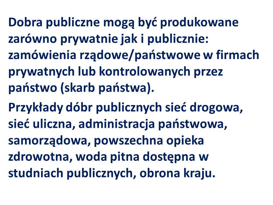 Dobra publiczne mogą być produkowane zarówno prywatnie jak i publicznie: zamówienia rządowe/państwowe w firmach prywatnych lub kontrolowanych przez państwo (skarb państwa).