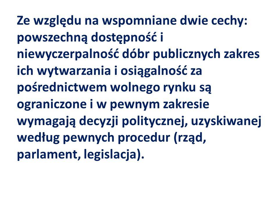 Ze względu na wspomniane dwie cechy: powszechną dostępność i niewyczerpalność dóbr publicznych zakres ich wytwarzania i osiągalność za pośrednictwem wolnego rynku są ograniczone i w pewnym zakresie wymagają decyzji politycznej, uzyskiwanej według pewnych procedur (rząd, parlament, legislacja).