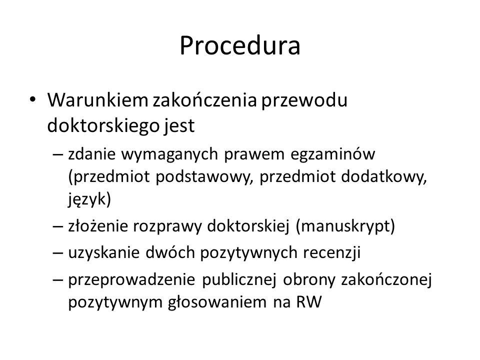 Procedura Warunkiem zakończenia przewodu doktorskiego jest