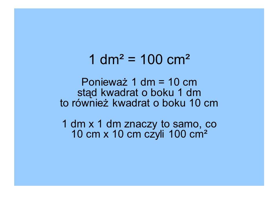 1 dm² = 100 cm² Ponieważ 1 dm = 10 cm stąd kwadrat o boku 1 dm to również kwadrat o boku 10 cm 1 dm x 1 dm znaczy to samo, co 10 cm x 10 cm czyli 100 cm²