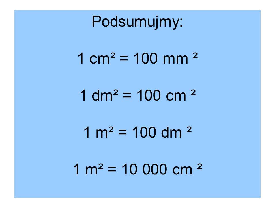 Podsumujmy: 1 cm² = 100 mm ² 1 dm² = 100 cm ² 1 m² = 100 dm ² 1 m² = 10 000 cm ²