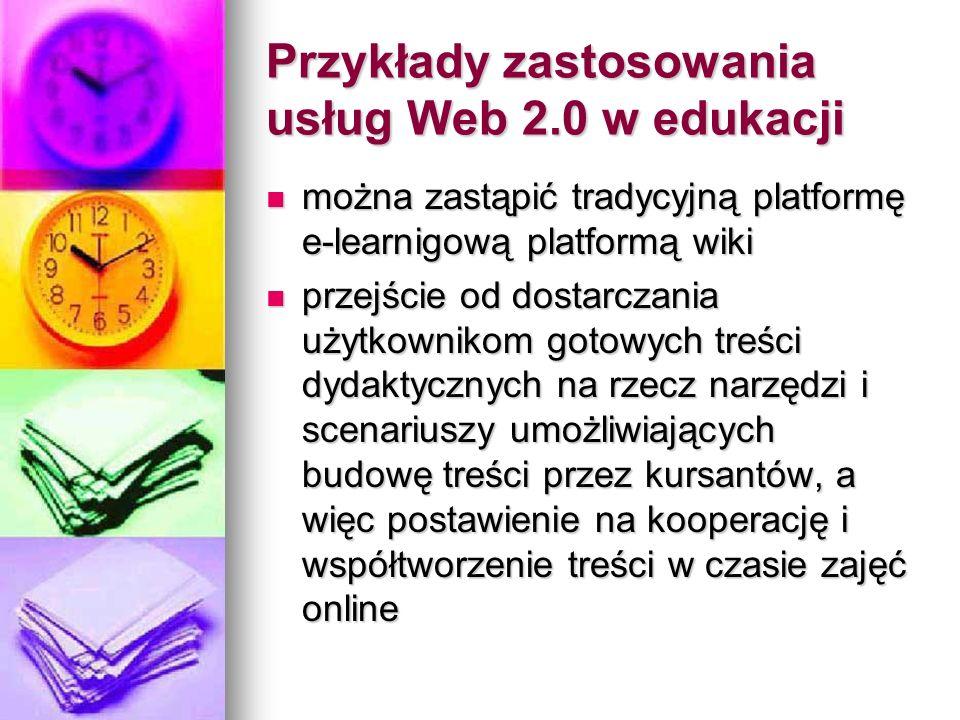 Przykłady zastosowania usług Web 2.0 w edukacji