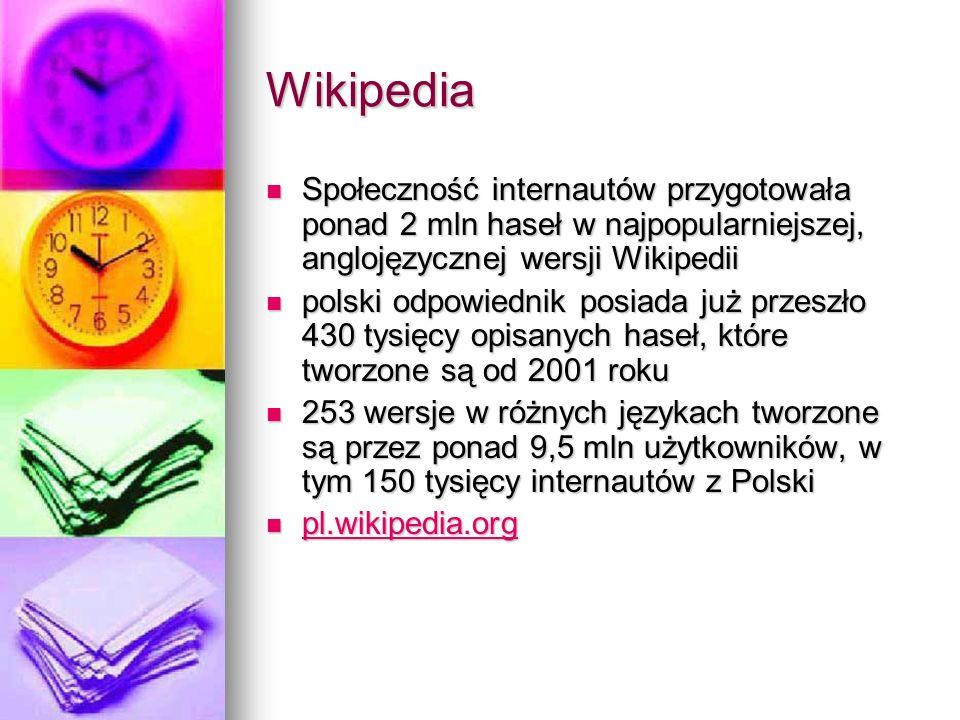 Wikipedia Społeczność internautów przygotowała ponad 2 mln haseł w najpopularniejszej, anglojęzycznej wersji Wikipedii.