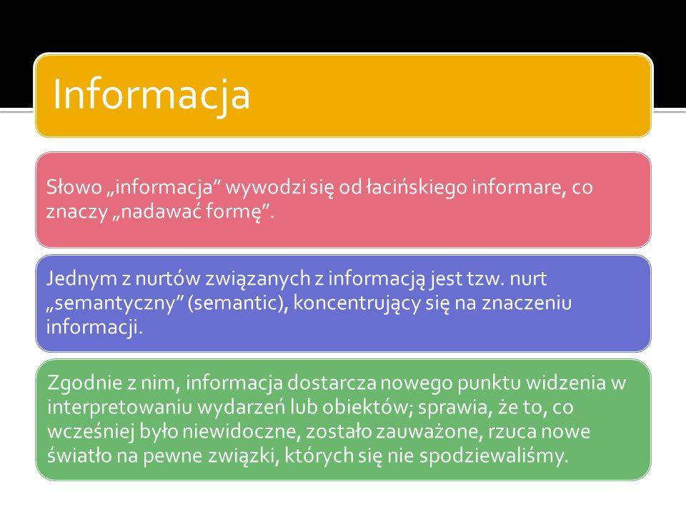 """Informacja Słowo """"informacja wywodzi się od łacińskiego informare, co znaczy """"nadawać formę ."""