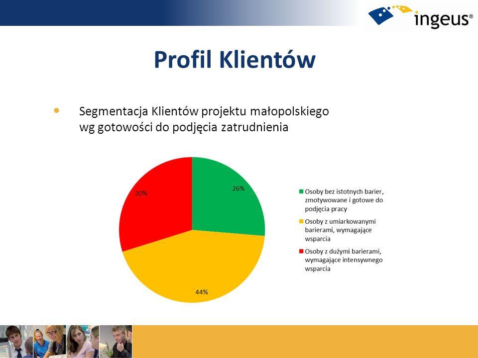 Profil Klientów Segmentacja Klientów projektu małopolskiego wg gotowości do podjęcia zatrudnienia
