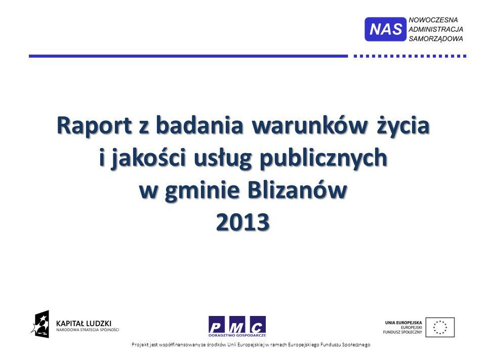 Raport z badania warunków życia i jakości usług publicznych w gminie Blizanów 2013