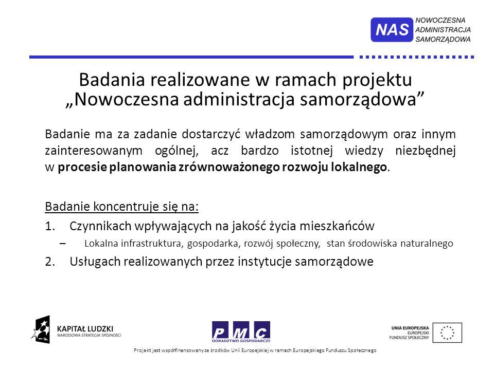 """Badania realizowane w ramach projektu """"Nowoczesna administracja samorządowa"""
