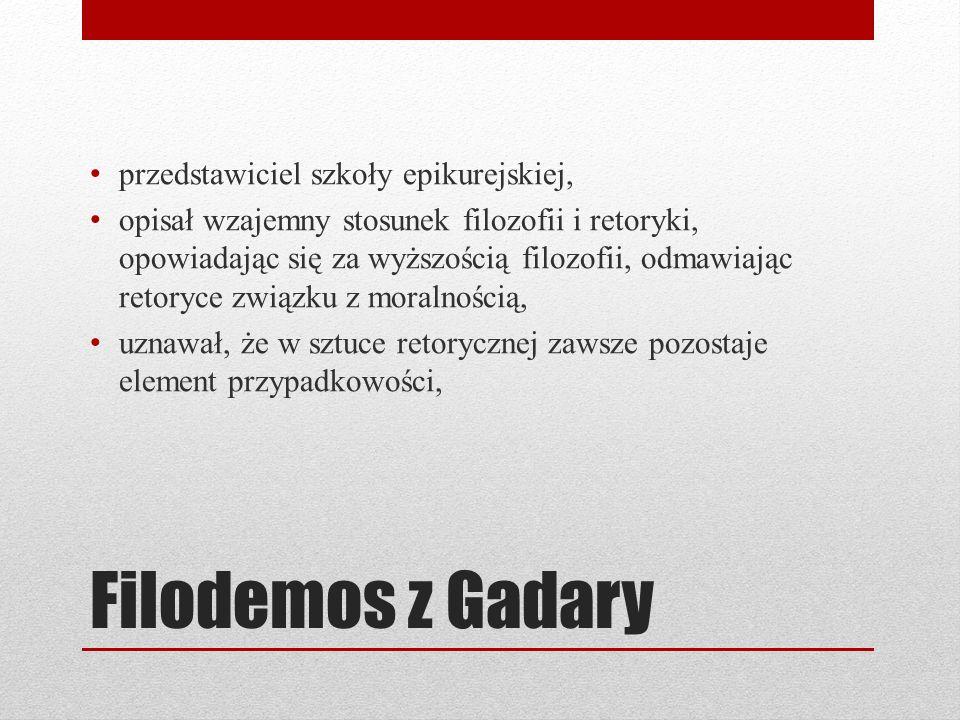 Filodemos z Gadary przedstawiciel szkoły epikurejskiej,