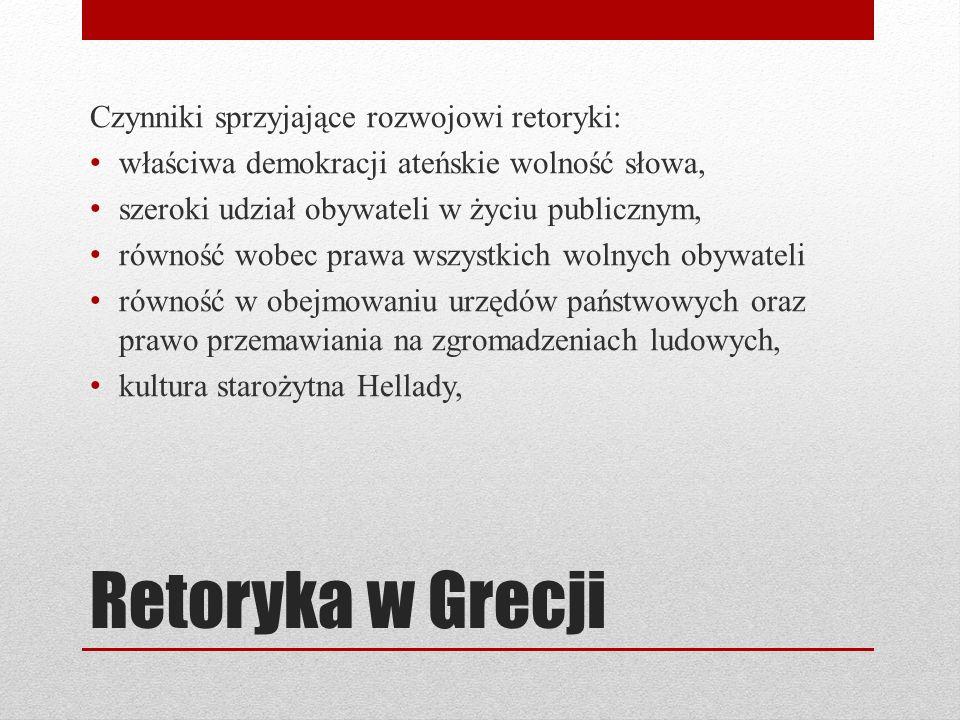 Retoryka w Grecji Czynniki sprzyjające rozwojowi retoryki: