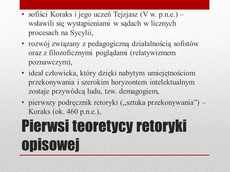 Pierwsi teoretycy retoryki opisowej