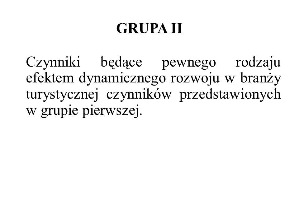GRUPA II Czynniki będące pewnego rodzaju efektem dynamicznego rozwoju w branży turystycznej czynników przedstawionych w grupie pierwszej.