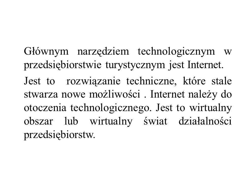 Głównym narzędziem technologicznym w przedsiębiorstwie turystycznym jest Internet.