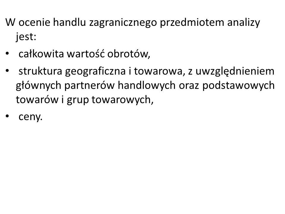 W ocenie handlu zagranicznego przedmiotem analizy jest:
