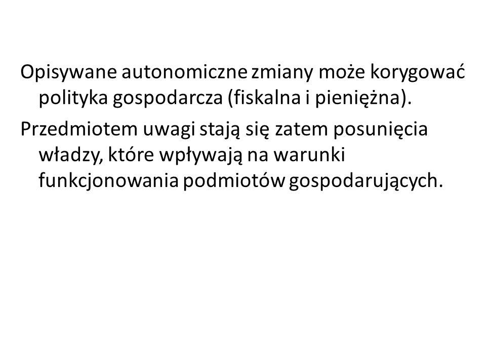 Opisywane autonomiczne zmiany może korygować polityka gospodarcza (fiskalna i pieniężna).