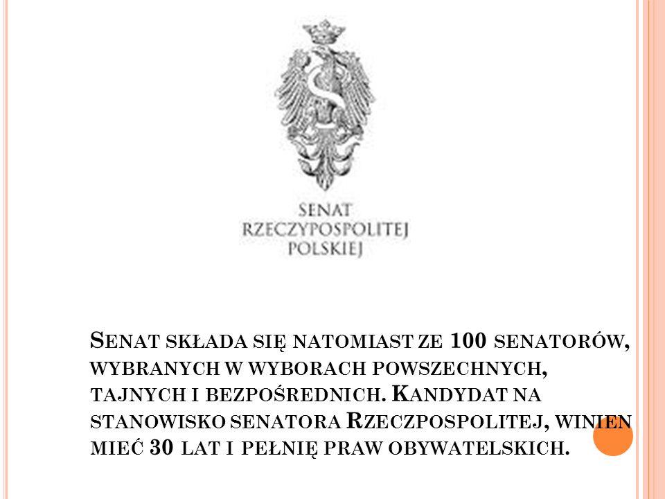 Senat składa się natomiast ze 100 senatorów, wybranych w wyborach powszechnych, tajnych i bezpośrednich.