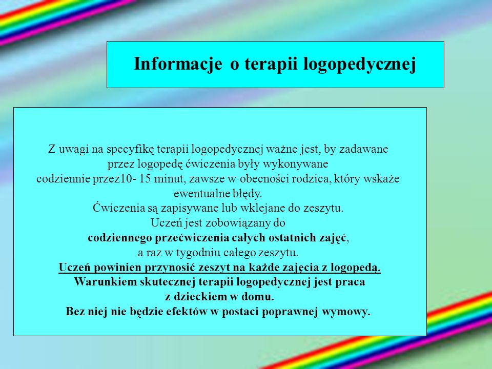 Informacje o terapii logopedycznej