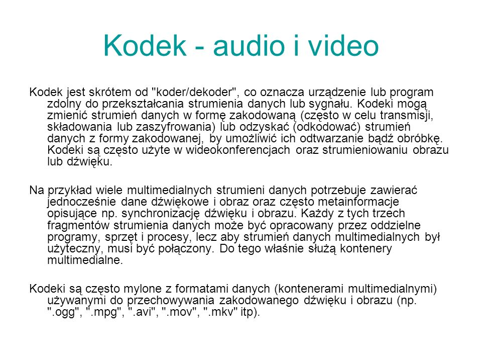 Kodek - audio i video