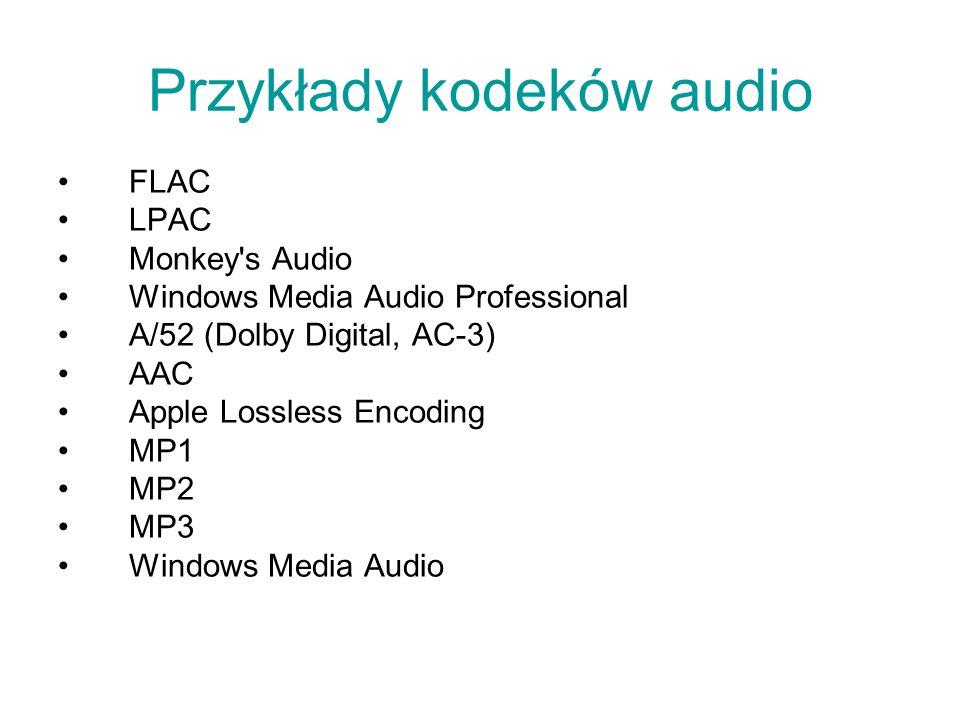 Przykłady kodeków audio