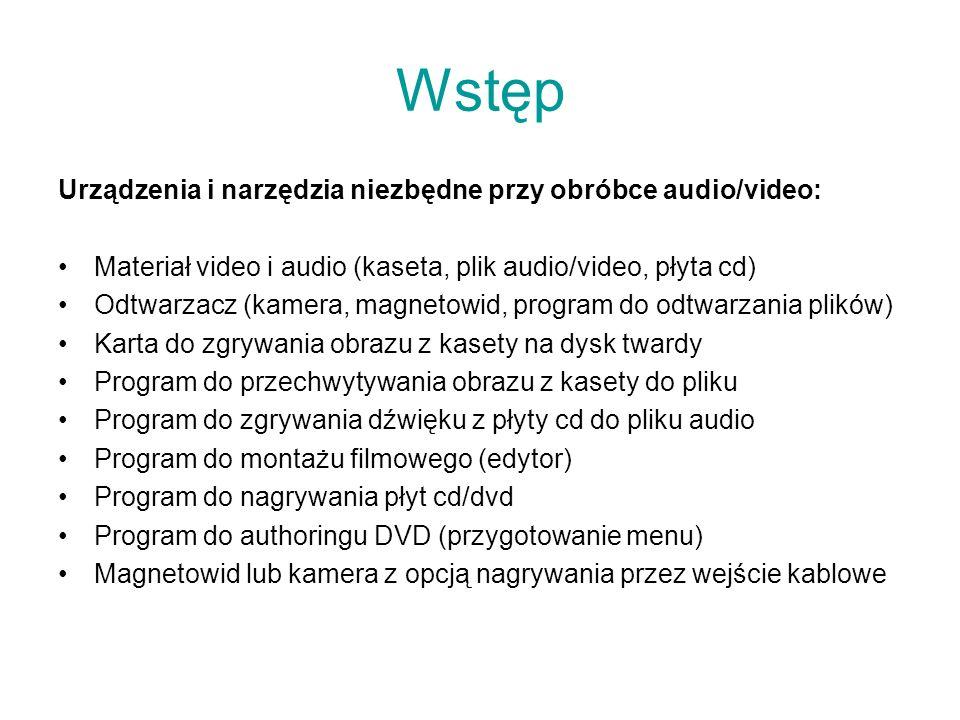Wstęp Urządzenia i narzędzia niezbędne przy obróbce audio/video: