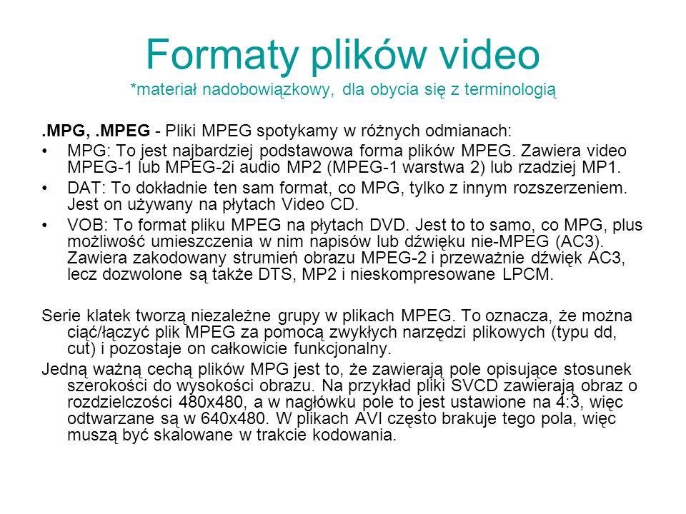 Formaty plików video *materiał nadobowiązkowy, dla obycia się z terminologią