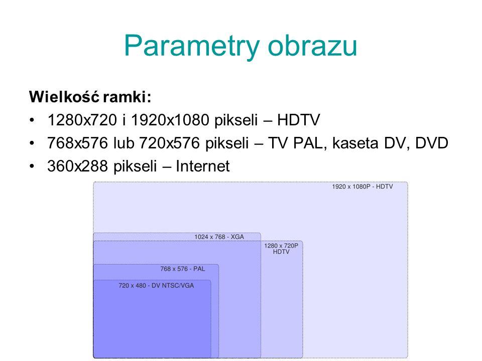 Parametry obrazu Wielkość ramki: 1280x720 i 1920x1080 pikseli – HDTV