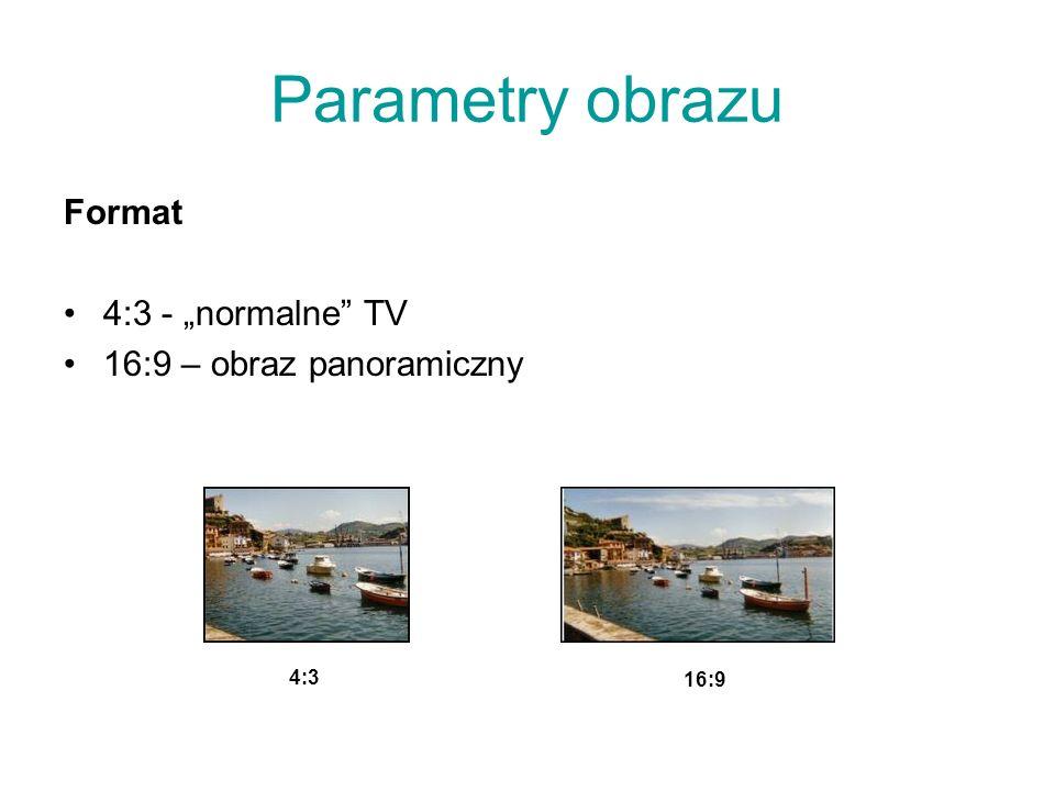 """Parametry obrazu Format 4:3 - """"normalne TV 16:9 – obraz panoramiczny"""