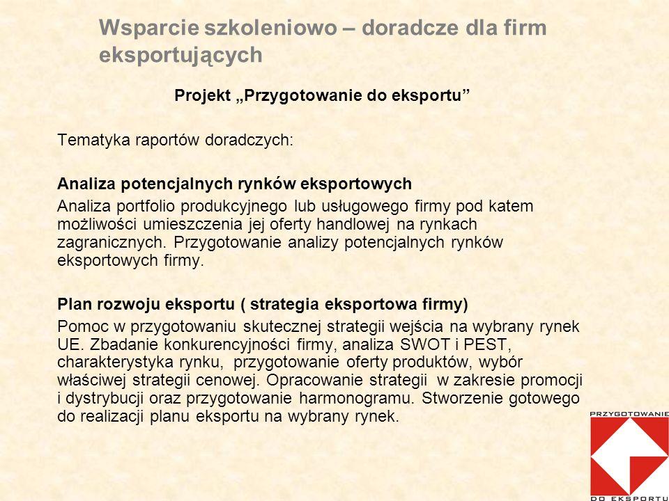 Wsparcie szkoleniowo – doradcze dla firm eksportujących