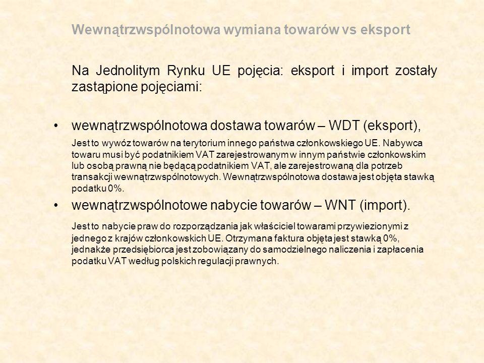 Wewnątrzwspólnotowa wymiana towarów vs eksport