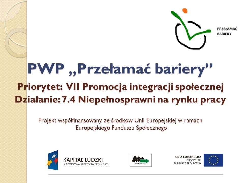 """PWP """"Przełamać bariery Priorytet: VII Promocja integracji społecznej Działanie: 7.4 Niepełnosprawni na rynku pracy Projekt współfinansowany ze środków Unii Europejskiej w ramach Europejskiego Funduszu Społecznego"""
