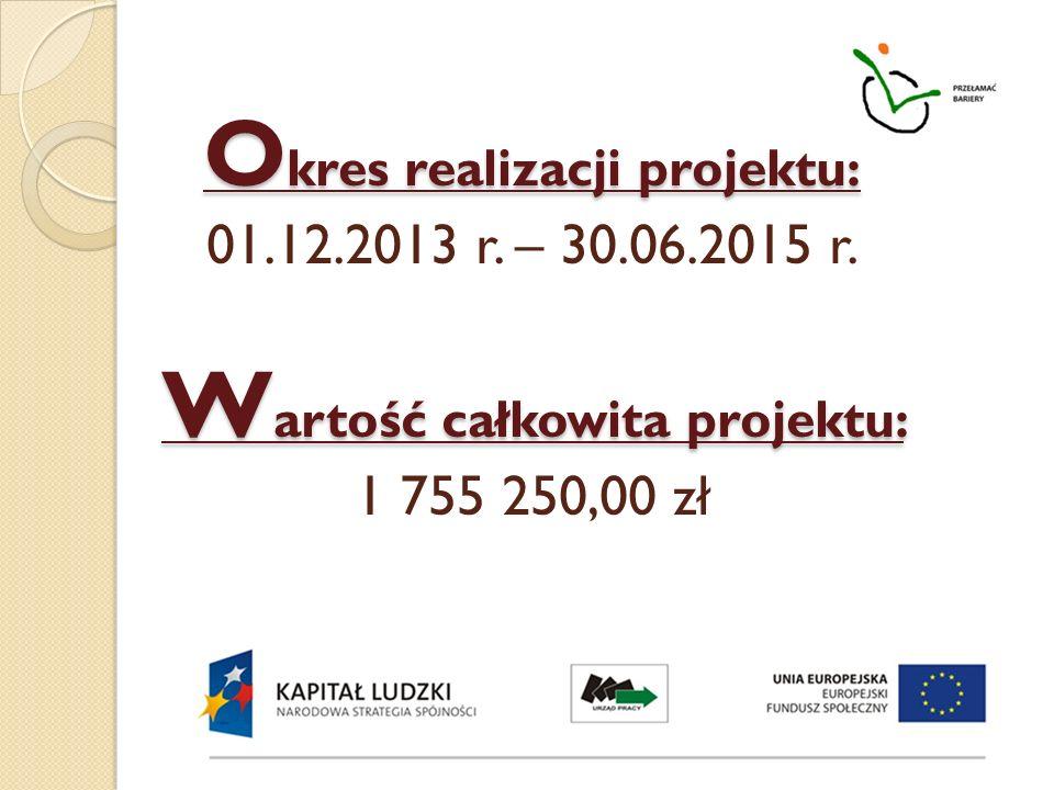 Okres realizacji projektu: 01. 12. 2013 r. – 30. 06. 2015 r
