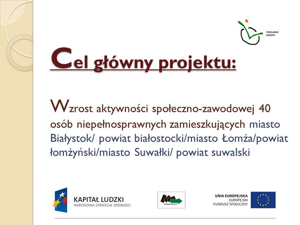 Cel główny projektu: Wzrost aktywności społeczno-zawodowej 40 osób niepełnosprawnych zamieszkujących miasto Białystok/ powiat białostocki/miasto Łomża/powiat łomżyński/miasto Suwałki/ powiat suwalski