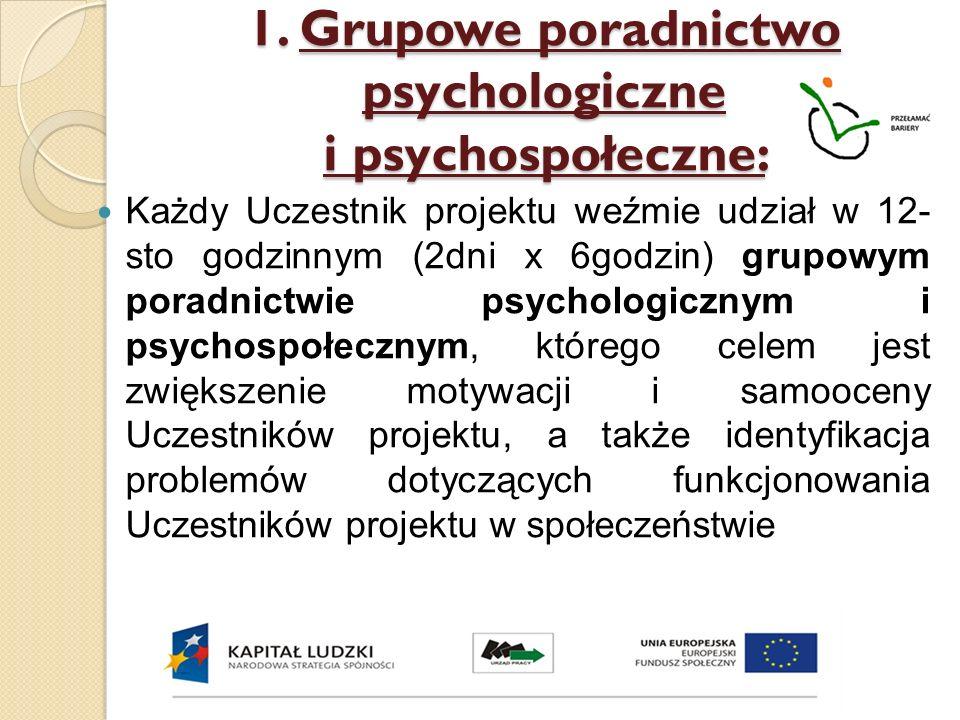 1. Grupowe poradnictwo psychologiczne i psychospołeczne: