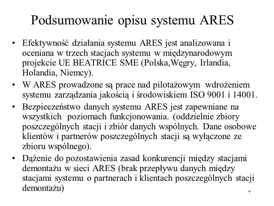 Podsumowanie opisu systemu ARES